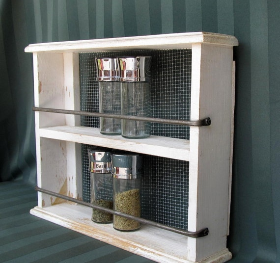 Vintage White Shabby Spice Rack from the Farmhouse