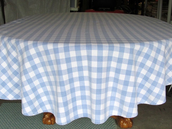 Large Oval  Blue and White Checkered Farmhouse Tablecloth Cotton