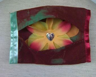 Handmade Tie Dye Fabric Hidden Flower Tissue Case