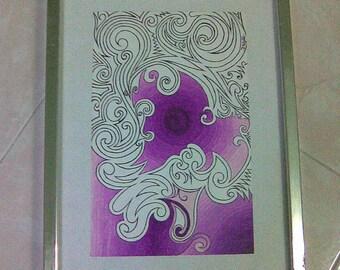 PurplesS - Original Art of Gouache & Marker on Canvas Texture Paper