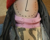Heirloom one of a kind hand crafted rag doll made from repurposed material - Shopping Day