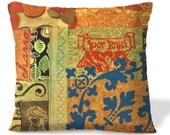 BOUTIQUE Accent Pillow Cover - POR JOYEL/For Joy -18x18 - Original Collage - Southwest Decor - Stencil - Linen backing