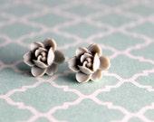 Glamorous Grey Lotus post earrings by Lemon Kissed. free shipping.