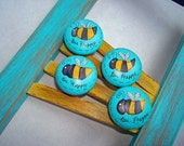 Hand Painted Knobs,Bumblebee Decor for Kids Room or Nursey, Set of 4 Ready to Ship