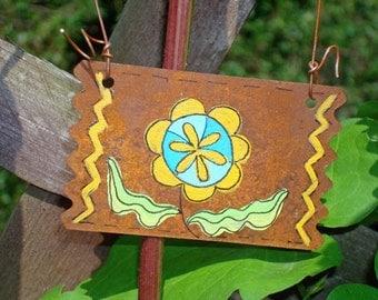 Ornament Flower Decor Hand Painted Rusty Tin