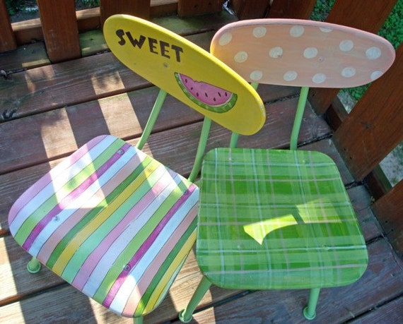 Reserved Listing for  ronihaskell         Recycled Hand Painted Child's Chair-SALE-