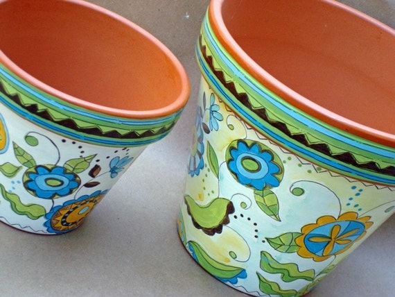"""Hand Painted Flower Pot, 6 Inch Terracotta """"Dream in Green"""" - Made to Order"""