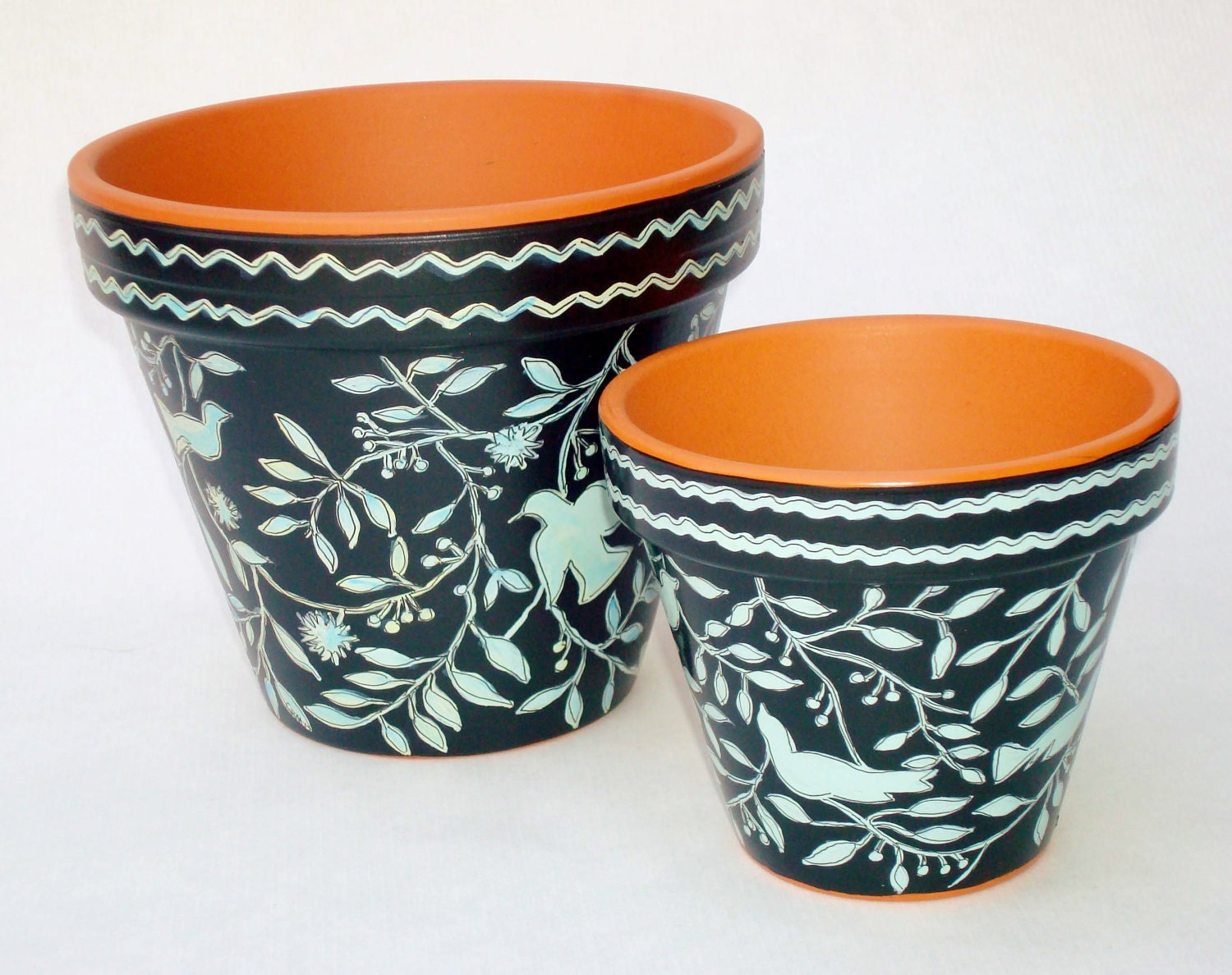 hand painted flower pot 6 inch terracotta pot by. Black Bedroom Furniture Sets. Home Design Ideas