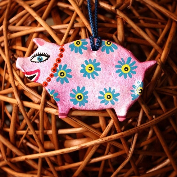 Colorful Pig Ornament