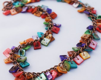 Rainbow Shell Copper Necklace