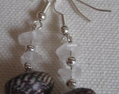 Rose Quartz and Shell Earrings