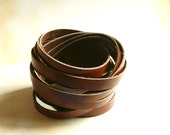 Brown Sliced Leather Cuff Bracelet Double Wrap