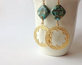 Exotic Earrings Mosaic Turquoise & Golden Raw Brass Bohemian Jewelry