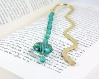 Teal Bookmark, Beaded Bookmark, Teacher Gift, Turquoise Bookmark, Book Worm Gift, Metal Bookmark, Gift Ideas, Hook Bookmark, Ready to Ship