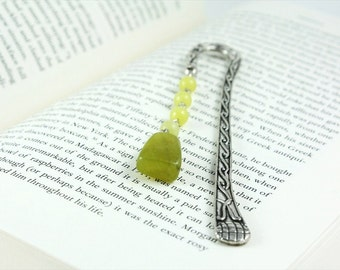 Jade Bookmark, Stone Bookmark, Silver Bookmark, Metal Bookmark, Antique Hook, Green Bookmark, Stone Bookmark, Ready to Ship