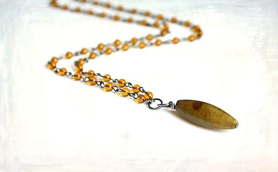 Men's Rosary Style Necklace Fire Jade, Amber Glass & Gunmetal Bohemian Jewelry