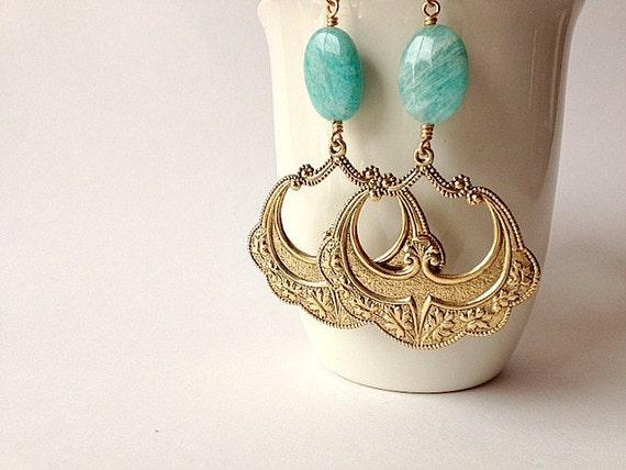 Flamenco Earrings Russian Amazonite & Golden Antique Brass