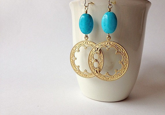 Cyber Monday Etsy Sale - Turquoise & Moroccan Scalloped Hoop Earrings - Black Friday Etsy Cyber Monday Etsy