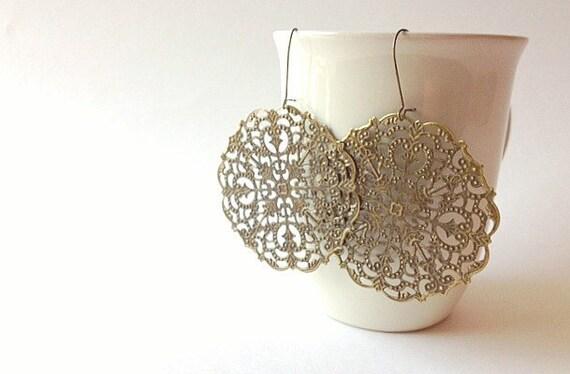 Earrings Antique Brass Spanish Lace Filigree Bohemian Jewelry