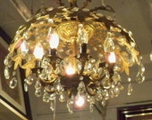 Antique Spanish 2 -tier bronze and crystal chandelier