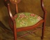 Victorian needlepoint barrel chair