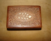 Old wooden box with bone inlay