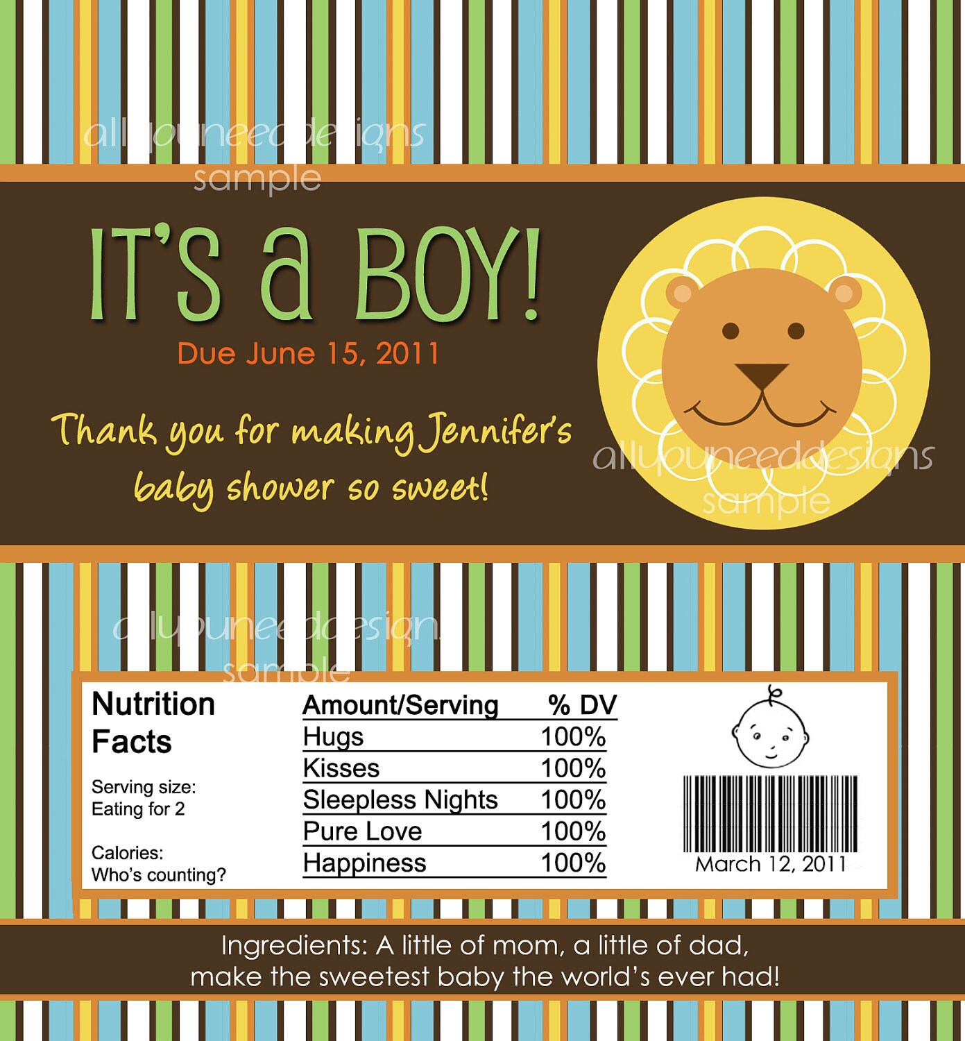 jungle king custom baby shower candy wrapper printable file on etsy