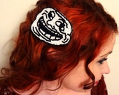 U Mad - Troll Face Internet Meme Bead Embroidered Hair Clip in Black and White