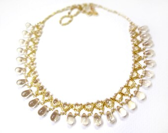 Beaded Lace Collar Necklace - Pale Yellow - Collar Necklace - Vintage Inspired - Clearance Sale