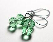 ON SALE Green Peridot Earrings Swarovski Crystal Rondelles - August Birthstone - Little Girl Earrings - Hypoallergenic Sensitive Earrings