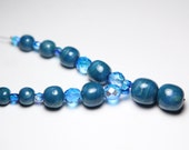 Teal Blue Y Necklace - Polymer Clay Beads - Almost Rounds - Graduated Beads - Czech Glass - Teen - Women