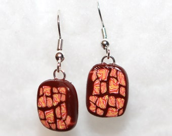 80s Retro Glam Earrings - Square Tab - Polymer Clay Dangle - Pink - Brown - Orange