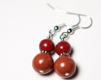 Warm Autumn Earrings - Rust - Orange - Red - Dangle Earrings - Polymer Clay Beads - Valentine Earrings