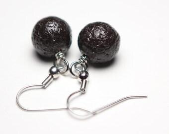 Black Faux Lava Rock Polymer Clay Earrings Hypoallergenic for Sensitive Ears Minimalist Design