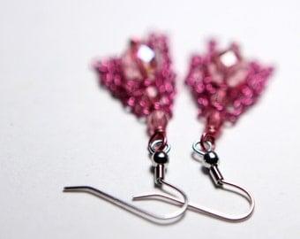 Pink Tassel Earrings - Hypoallergenic Sensitive Earrings - Little Girls Earrings - Fun Fringe Earrings - Valentine Gift
