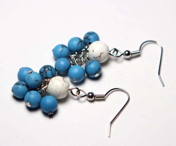 Turquoise Cluster Earrings - White Howlite Earrings - Southwest Earrings - Statement Earrings - Bridal Jewelry - Casual Earrings
