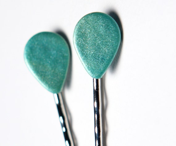 Bobby Hairpins Aqua Tear Drop Polymer Clay Silver Metal Matching Set of 2