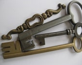 One vintage Brass Escutcheon and 3 old Skeleton KeyS