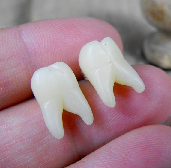 Tiny tooth molar earrings studs. Very realistic human teeth (handmade replicas). Polymer clay and surgical steel
