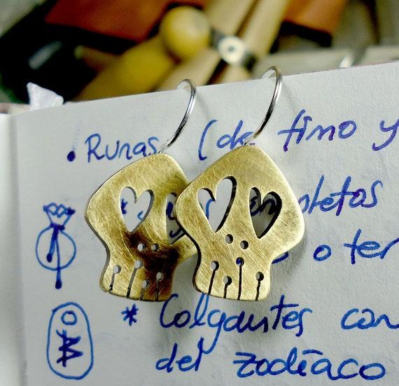 Brass and sterling silver sugar skull earrings. Two lovely dead guys always in love
