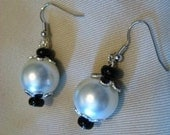 CLEARANCE Art Deco Style Earrings in Black and White