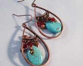 Turquoise Blue and Copper Dangle Earrings