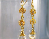 Gold and Crystal Dangle Earrings