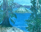 Wizard Island From the Rim of Crater Lake Oregon Cascades Signed ACEO Art Print