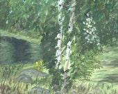 Two Trees at Lofton Lake in  Southern Oregon 9 x 12 Original Painting