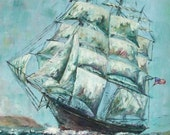 Historical Clipper Ship Western Shore Signed ACEO Art Print