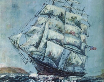 Clipper Ship Western Shore Art Print from Original Painting