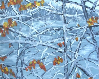 First Winter Snow and Last of the Autumn Leaves 9 x 12 Original Painting