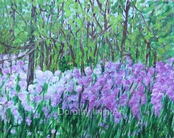 Lupines in the Woods 9 x 12 Original Painting