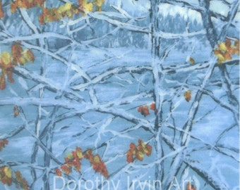 Last Leaves of Autumn and the First Snow of Fall Signed ACEO Art Print